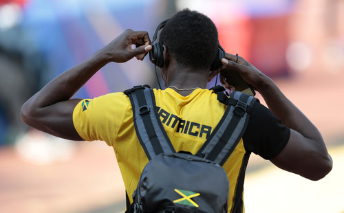 Jamaica's Usain Bolt leaves a Team Jamaica training session ahead of IAAF Athletics World championships at the Luzhniki stadium in Moscow, Russia, on Thursday, Aug. 8, 2013. (AP Photo/Ivan Sekretarev)