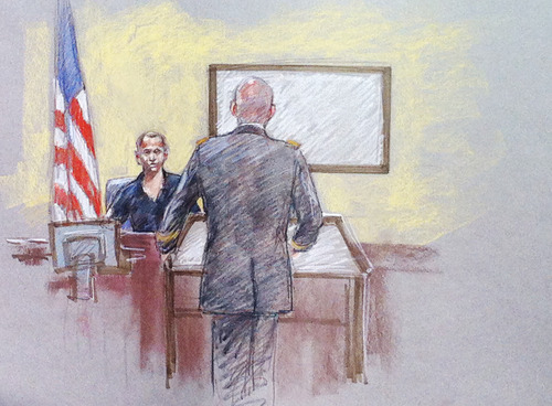 In this courtroom sketch, Pvt. Lance Avilas, a victim of the Fort Hood shootings, testifies during the trial of Maj. Nidal Hasan, Thursday, Aug. 8, 2013, in Fort Hood, Texas. Hasan was allowed to continue representing himself on Thursday after the judge barred his standby attorneys from taking over, despite their claims that the Army psychiatrist was trying to secure his own death sentence. (AP Photo/Brigitte Woosley)