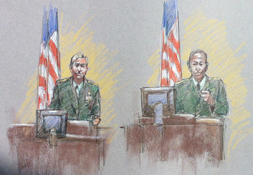 In this courtroom sketch, Spc. Meagan Martinez, left, and Sgt. Lamar Nixon, victims of the Fort Hood shootings, testify during the trial of Maj. Nidal Hasan, Thursday, Aug. 8, 2013, in Fort Hood, Texas. Hasan was allowed to continue representing himself on Thursday after the judge barred his standby attorneys from taking over, despite their claims that the Army psychiatrist was trying to secure his own death sentence. (AP Photo/Brigitte Woosley)