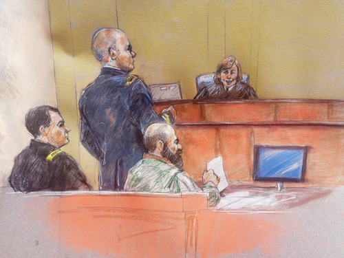 In this courtroom sketch, Maj. Nidal Hasan, second from right, sits with his standby defense attorneys Maj. Joseph Marcee, left, and Lt. Col. Kris Poppe, second from left, as presiding judge Col. Tara Osborn looks on, during Hasan's trial Thursday, Aug. 8, 2013, in Fort Hood, Texas. Hasan was allowed to continue representing himself on Thursday after the judge barred his standby attorneys from taking over, despite their claims that the Army psychiatrist was trying to secure his own death sentence. (AP Photo/Brigitte Woosley)