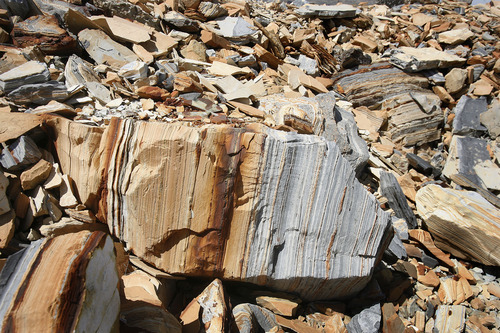 Scott Sommerdorf   |  The Salt Lake Tribune Some of the tailings from oil shale on Enefit American Oil's White River mine on BLM land in eastern Uintah County, Wednesday, August 7, 2013.