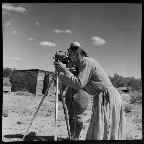 Salt Lake Tribune archive  Father Liebler recording video at St. Christopher's Mission in Bluff, Utah, 1950. St. Christopher's Episcopal Mission was established in 1943 when H. Baxter Liebler, an Episcopal priest from Old Greenwich, Conn., came to Bluff to establish a mission among the Navajo people. St. Christopher's is named after the patron saint of travelers. When Father Liebler arrived in Bluff, there were no missions, schools, or medical/hospital facilities for the Navajo living in this remote Utah section of the reservation. Before arriving in southeast Utah, Father Liebler studied the Navajo language to make his message comprehensible to the Dineh and compatible with their understanding of harmony. He participated in Navajo ceremonies and wore his hair in the traditional Navajo style - long, pulled back and wrapped. A year after the mission was established, a school was started which became the only school for the 1,500 Navajo living in the central part of the Utah strip of the Navajo Reservation. A hospital/clinic building was completed in 1956. An estimated 500 babies were born in the clinic during the years it was in operation.