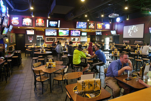 Chris Detrick  |  The Salt Lake Tribune Last year liquor licenses were in such short supply that Buffalo Wild Wings stopped construction on its Layton location until the chain could get a liquor permit. Since then, lawmakers have protected restaurant chains against license shortages by creating master liquor permits, which became available in May. Pictured,  Buffalo Wild Wing' Lehi restaurant.