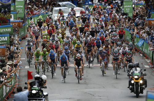 Scott Sommerdorf   |  The Salt Lake Tribune The start of Stage 6 of the Tour of Utah winds through Park City's Main Street, Sunday, August 11, 2013.