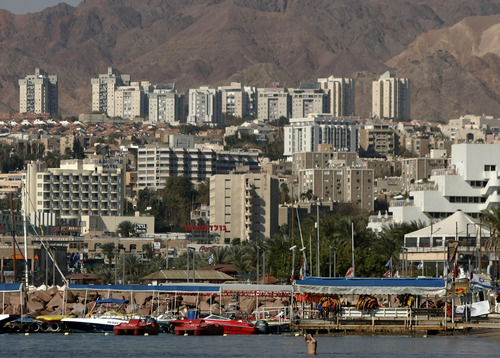 FILE - In this Jan. 30, 2007 file photo, a general view of the Red Sea resort city of Eilat is seen in southern Israel on the border with Egypt. The Israeli military shot down a rocket launched toward Eilat, Tuesday, Aug. 13, 2013, the army said. It was the first time Israel's Iron Dome missile defense system successfully intercepted a rocket attack on Eilat, according to the military. The incident came after days of heightened tension along the Egypt-Israel border. (AP Photo/Ariel Schalit, File)