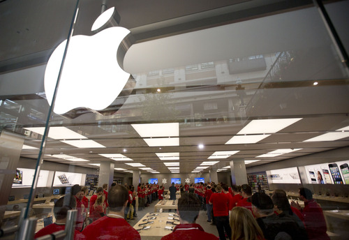 Lennie Mahler  |  The Salt Lake Tribune Apple employees prepare for the grand opening of the new store at City Creek Center mall in downtown Salt Lake City on Saturday, Nov. 17, 2012.