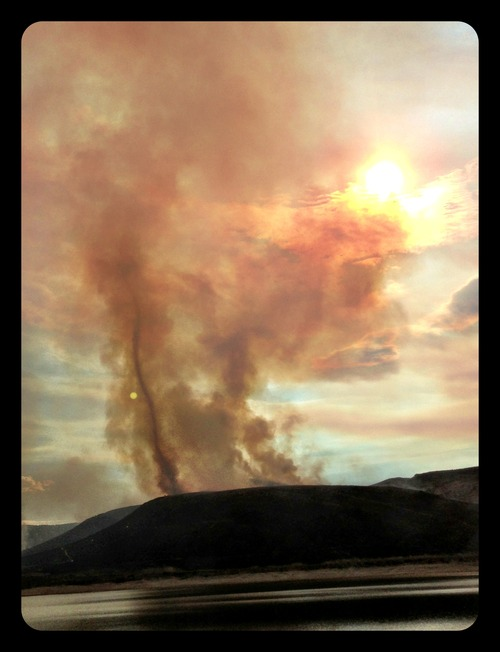 Courtesy of Kristina Pluta |  Rockport 5 fire burns to the east of Rockport Reservoir in Summit County.