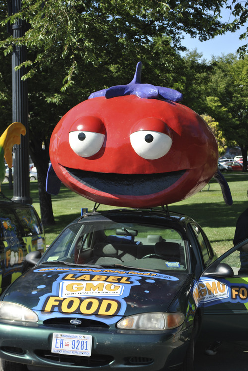 Matthew Piper  |  The Salt Lake Tribune K-Sup the tomato is seen Tuesday morning in Library Square.