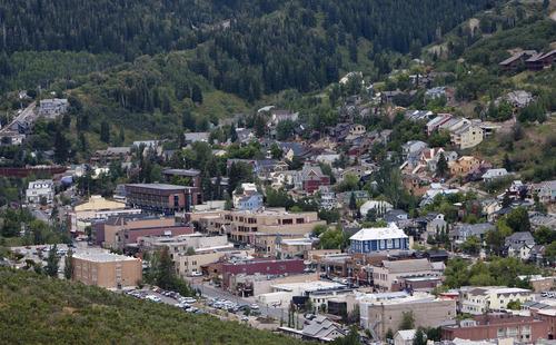 Steve Griffin | The Salt Lake Tribune  Homes surround Park City, Utah's Main Street Monday August 12, 2013.