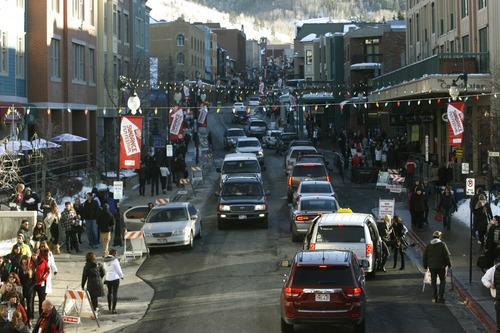 Rick Egan  | The Salt Lake Tribune   Traffic fills up Main Street in Park City, Saturday, January 19, 2013.