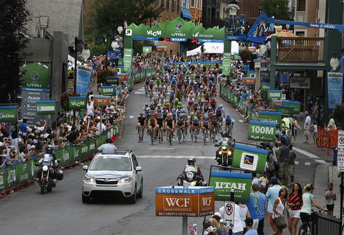 Scott Sommerdorf      The Salt Lake Tribune The start of Stage 6 of the Tour of Utah winds through Park City's Main Street, Sunday, August 11, 2013.