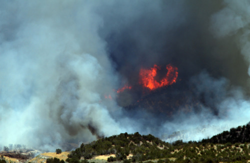 Rick Egan  | The Salt Lake Tribune   The Skull Valley Fire continues to burn, Monday, August 12, 2013.