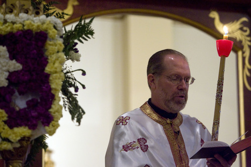 Kim Raff     Tribune file photo Father Matthew Gilbert is one of three Utah priests of the Greek Orthodox Church who have been ordered to suspend priestly ministries due to a pay cut ordered by the cash-strapped parish council.