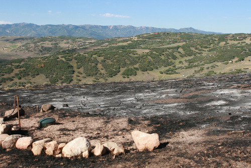 Burned area at Rockport Estates as seen Wednesday August 14.   Photo by homeowner Pat Pike