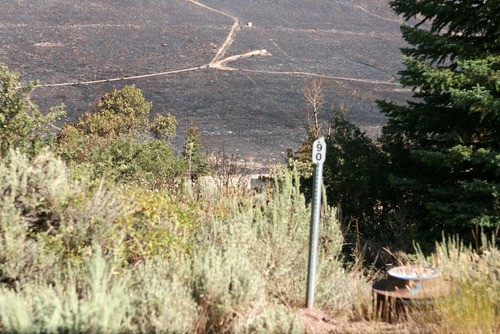 Burned area just northwest of  Rockport Estates as seen Wednesday August 14.    Photo by homeowner Pat Pike