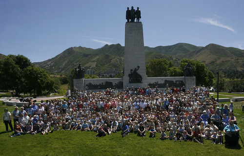 Scott Sommerdorf   |  The Salt Lake Tribune Descendants of Joseph Smith Sr., the father of the LDS church founder, met Saturday at This is the Place Heritage Park on Saturday and posed for a family photo.