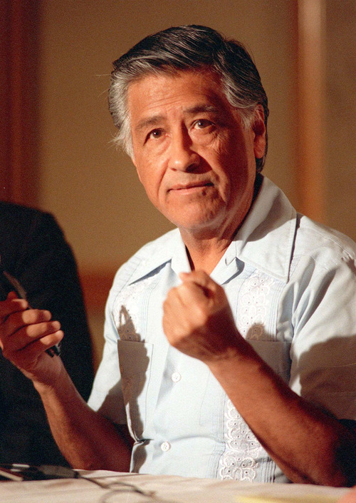 """Alan Greth     AP file photo In this March 8, 1989, photo, Cesar Chavez gestures as he speaks during a news conference in Los Angeles. The West Valley City Council will vote Tuesday on a request to add """"Cesar Chavez Drive"""" as a commemorative name to a section of 2320 South."""