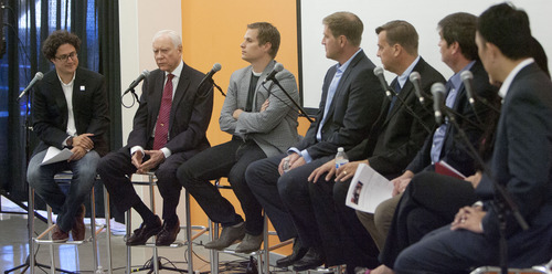 Steve Griffin | The Salt Lake Tribune  Utah Sen. Orrin Hatch, second from left, is joined by technology business leaders from Utah and around the country, during a roundtable discussion about immigration reform and how it effects technology jobs in the United States, at Property Solutions in Lehi, Utah Thursday August 15, 2013