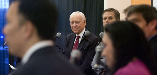 Steve Griffin   The Salt Lake Tribune  Utah Sen. Orrin Hatch, second from left, is joined by technology business leaders from Utah and around the country, during a roundtable discussion about immigration reform and how it effects technology jobs in the United States, at Property Solutions in Lehi, Utah Thursday August 15, 2013