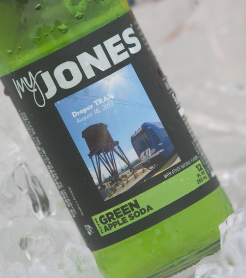Rick Egan  | The Salt Lake Tribune   Jones Soda with a label featuring the Draper TRAX train was served at the grand opening ceremonies for the new Draper line. Friday, August 16, 2013.