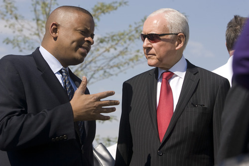 Rick Egan  | The Salt Lake Tribune    U.S. Department of Transportation Secretary Anthony Foxx talks with Senator Orrin Hatch, at the grand opening ceremonies for the new Draper TRAX line.Friday, August 16, 2013.