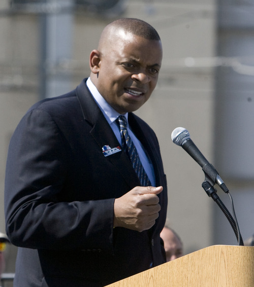 Rick Egan  | The Salt Lake Tribune   U.S. Department of Transportation Secretary Anthony Foxx speaks at the grand opening ceremonies for the new Draper TRAX line.Friday, August 16, 2013.