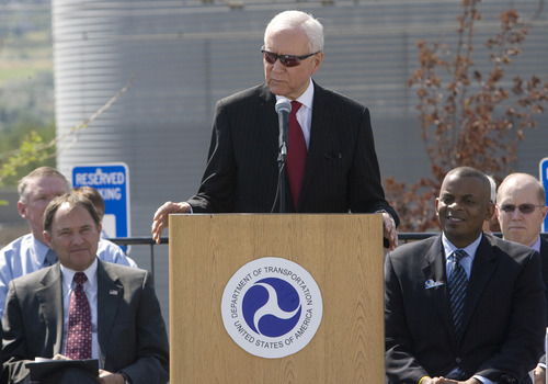 Rick Egan  | The Salt Lake Tribune   Senator Orrin Hatch gives a speech at the grand opening ceremonies for the new Draper TRAX line.Friday, August 16, 2013.