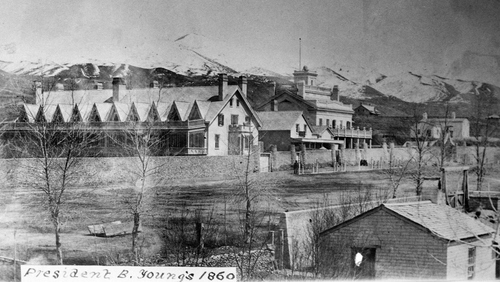 Salt Lake Tribune archive  The Lion and Beehive Houses on S. Temple, Brigham's Street, in Salt Lake City, 1860.