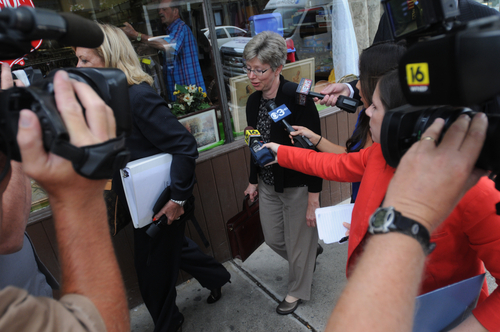 In an Aug. 1, 2013 photo, Barbara J. Mancini, 57, of Philadelphia, is interviewed by reporters after her preliminary hearing before Magisterial District Justice James K. Reiley in Pottsville, Pa. Mancini is accused of giving a bottle of morphine to her dying father, 93-year-old Joe Yourshaw of Schuylkill County, and has become the latest lightening rod in the nation's long-running debate over assisted suicide. (AP PhotoNick Meyer/The Republican-Herald, Nick Meyer)