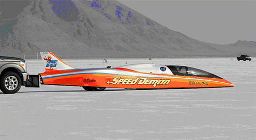 George Poteet driving Speed Demon on the Salt Flats. (Courtesy Bob Main)