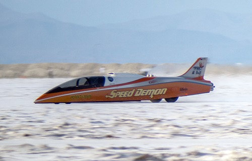 Speed Demon driven by George Poteet, seen here in a file photo, hit a top speed oaf 451.933 miles per hour Friday to break a 14-year-old record and win the trophy as the fastest car at Speed Week for the fifth straight year. (Photo courtesy Bob Main).