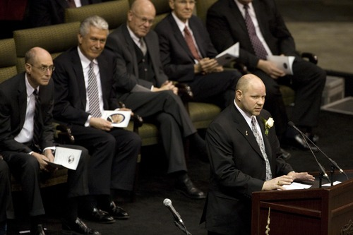 Roger Lawrence Miller gives a family tribute during funeral services for his father Larry H. Miller at the EnergySolutions Arena in Salt Lake City Saturday, Feb. 28, 2009. Roger Miller died Aug. 18, 2013, at age 45.  Jason Olson, Deseret News pool photo