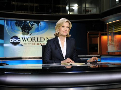 FILE - This Dec. 21, 2009 file photo shows ABC World News anchor Diane Sawyer taping a news brief before her live evening broadcast from New York. (AP Photo/ABC, Ida Mae Astute)