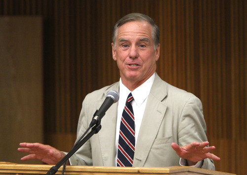 Rick Egan  | The Salt Lake Tribune   Howard Dean, gives a speech at Salt Lake Community College, Monday, August 19, 2013. The former Vermont governor and 2004 Democratic presidential candidate, spoke at the Democratic Party's statewide voter registration drive in Taylorsville, in the Student Union Building at Salt Lake Community College, Taylorsville campus.