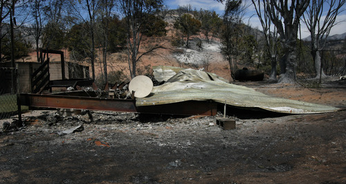 Rick Egan  | The Salt Lake Tribune   A home burned to the ground in Terra, Utah, Saturday, August 17, 2013.