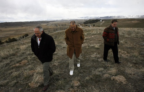 L-R Jon Warner,  vice president of the tribe's business ventures,  Bruce Parry, the ceo of the tribe's business ventures and also tribal chairman, and Mike Devine, CEO for the Northwestern Band of Shoshone Nation at the Bear River Massacre site, near Preston Idaho Saturday, April 5,  2008 4/5/08 Rick Egan/The Salt Lake Tribune 4/5/08