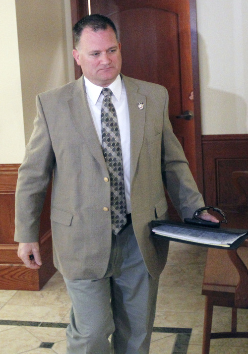 Al Hartmann  |  Tribune file photo Clark Aposhian, Utah's chief gun rights activist and chairman of the Utah Shooting Sports Council, appears in Holladay Justice Court earlier this month.