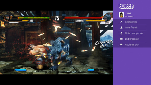 """This undated publicity photo released by Microsoft/Twitch shows the streaming video service, Twitch, broadcasting the fighting game, """"Killer Instinct,"""" on Xbox One. Twitch will be coming to the Xbox One, as well as the PlayStation 4. By hitting the """"Share"""" button on the Dualshock 4 wireless controller, PS4 users will be able to broadcast their gameplay directly to Twitch. (AP Photo/Microsoft/Twitch)"""