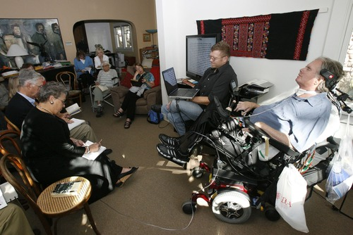 """Francisco Kjolseth     The Salt Lake Tribune Brooke Hopkins closes his eyes as he teaches a class on Thoreau's """"Walden"""" in his Avenues home in October 2010."""