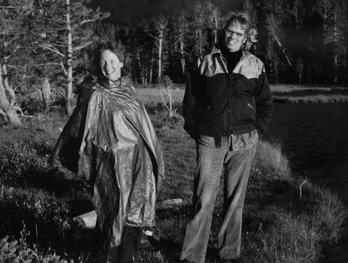 Photo courtesy of Peggy Battin.  Brooke Hopkins and Peggy Battin in an undated photograph.