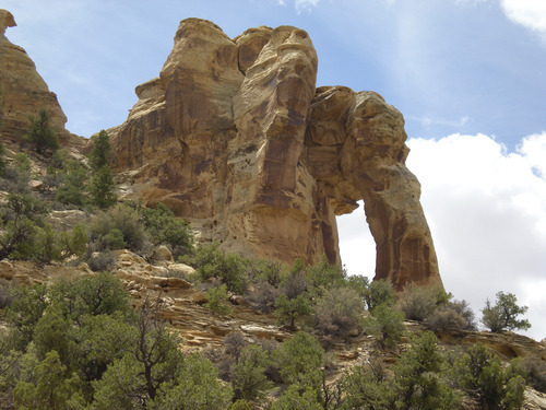 Nate Carlisle  |  Tribune file art Eagle Canyon Arch sits on a trail enjoyed by hikers and ATV users. The trail head is south of Interstate 70 at Swasey's Cabin. This site is near but outside lands proposed for oil and gas leases.