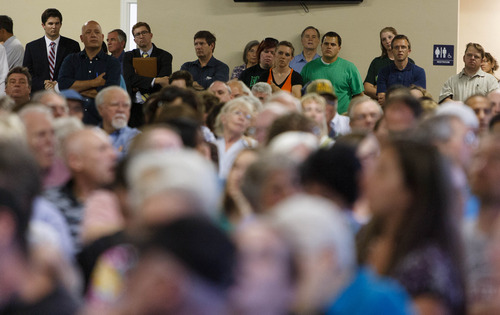 Trent Nelson  |  The Salt Lake Tribune A large crowd was on hand for a townhall meeting with Senator Mike Lee in Spanish Fork, Wednesday August 21, 2013.