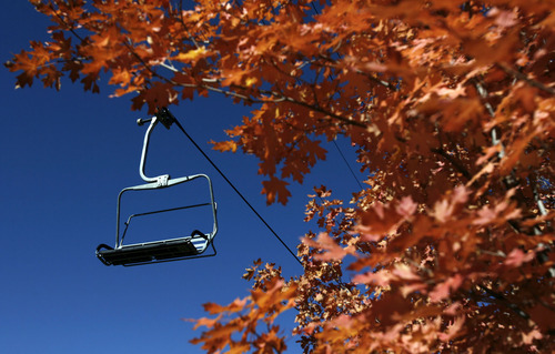 Francisco Kjolseth  |  The Salt Lake Tribune Fall color will soon give way to snow covered landscapes as the First Time chair lift at Park City Mountain Resort sits idle during the transformation coloring the hillsides on Thursday, September 29, 2011.
