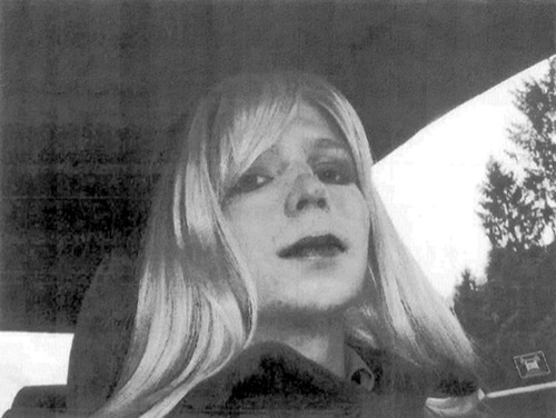 Courtesy of U.S. Army  |  Via AP In this undated file photo provided by the U.S. Army, Pfc. Bradley Manning poses for a photo wearing a wig and lipstick. Manning plans to live as a woman named Chelsea and wants to begin hormone therapy as soon as possible, the soldier said Thursday, Aug. 22, 2013, a day after he was sentenced to 35 years in prison for sending classified material to WikiLeaks.