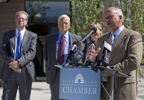 Kim Raff  |  The Salt Lake Tribune Salt Lake Chamber President and CEO Lane Beattie speaks about a transportation study conducted by the Salt Lake Chamber and the Utah Transportation Coalition during a press conference on McClelland Street in Sugar House in Salt Lake City on June 24, 2013.