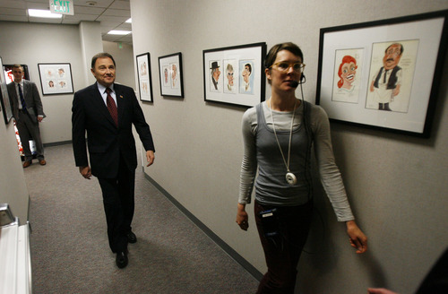 Francisco Kjolseth  |  Tribune file photo Gov. Gary Herbert says intense monitoring of electronic communications during the 2002 Winter Olympics was understandable in the wake of the 9/11 attacks. He said there needs to be a balance between national security and privacy right. In this file photo, the governor is led into the KUED studios by Production Assistant Ashley Swanson at the Eccles Broadcast Center on the University of Utah campus.