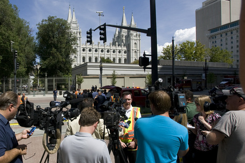 Rick Egan  |  The Salt Lake Tribune  Salt Lake City Fire Department spokesman Jasen Asay speaks to reporters about toxic fumes accidentally released in the South Visitors Center at Temple Square, Thursday, August 22, 2013.