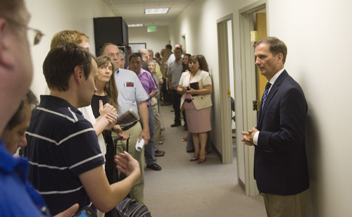Keith Johnson | The Salt Lake Tribune  Rep. Chris Stewart, R-Utah addresses those gathered in his Salt Lake office for an open house, August 22, 2013.