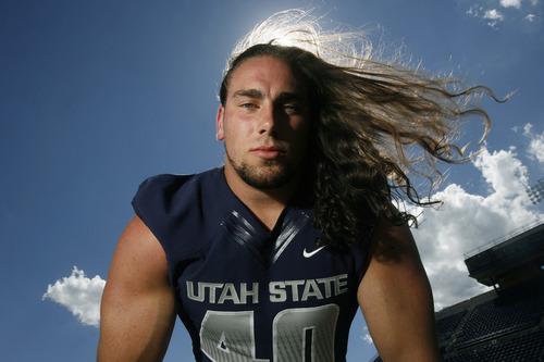 Scott Sommerdorf   |  The Salt Lake Tribune USU DE Connor Williams at Romney Stadium in Logan, Thursday, August 1, 2013.