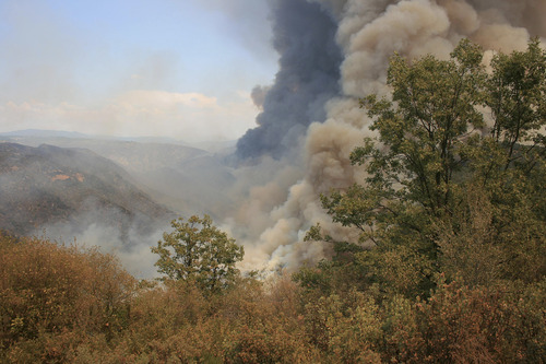 In this undated photo provided by the U.S. Forest Service, the Rim Fire burns near Groveland Ranger Station in Groveland, Calif. The wildfire outside Yosemite National Park — one of more than 50 major brush blazes burning across the western U.S. — more than tripled in size overnight and still threatens about 2,500 homes, hotels and camp buildings. Fire officials said the blaze burning in remote, steep terrain had grown to more than 84 square miles and was only 2 percent contained on Thursday, down from 5 percent a day earlier. (AP Photo/U.S. Forest Service)
